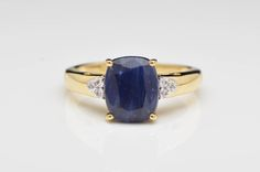 4.10 CTW Blue and White Sapphire 14K Yellow Gold Ring