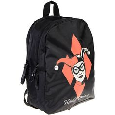 DC Comics Harley Quinn Backpack (Black) ($35) ❤ liked on Polyvore featuring bags, backpacks, rucksack bags, day pack backpack, backpack bags, knapsack bag and daypack bag