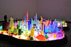 Neon color #MikeKelley City 0000, 2009-2011, included in exhibition by the late artist at Portland Art Museum.