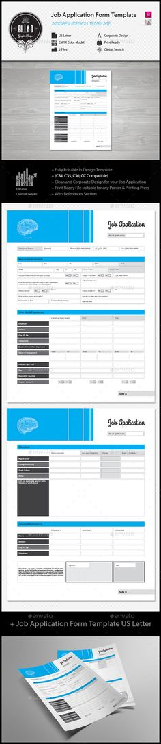 General Job Application Pdf Form  Adobe Indesign Print Templates