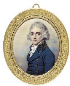 John Williams Hope (1757-1813), facing left in blue coat with gold buttons and black collar, white waistcoat and frilled cravat, powdered hair By Henry Bone