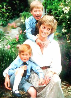 Princess Diana with Prince Harry and Prince William at Highgrove Estate