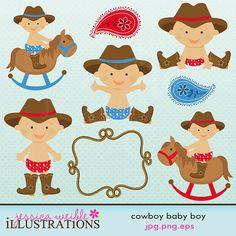 Superb Cowboy Baby Boy Cute Digital Clipart For Card By JWIllustrations, $5.00