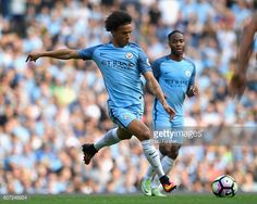 Leroy Sane of Manchester City prepares to shoot during the Premier League match between Manchester City and AFC Bournemouth at the Etihad Stadium on...