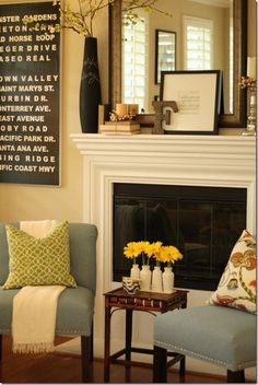Small seating in front of fireplace - would have to shift the entertainment center but the idea is worth exploring. - My-House-My-Home Home Living Room, Living Room Furniture, Living Room Decor, Office Furniture, Furniture Layout, Plywood Furniture, Furniture Decor, Modern Furniture, Furniture Design