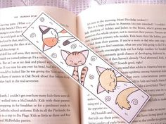 Illustrated cat bookmark original kitty art hand drawn by PeachPod, $6.00