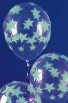 Cool Neon Party Balloons - glowing stars from ceiling (dollar bin)