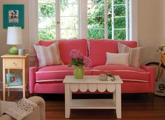 pink couch!  Bubble gum!