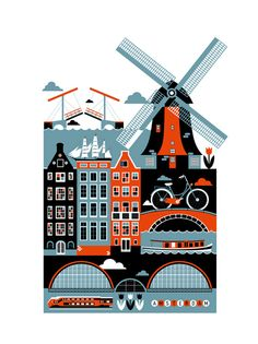Amsterdam by St. Petersburg illustrator Xenia Bystrova