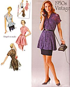 50s Peplum Tunic or Blouse, Button Front, Mandarin Collar, 2 Size Options; 6-14 or 14-22, Bust 30-36 or 36-44, Simplicity Pattern 1460 by TheGrannySquared on Etsy