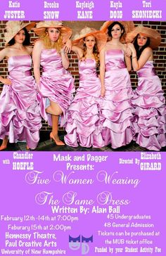 UNH Mask and Dagger Student Org Dramatic Society Presents: Five Women Wearing the Same Dress  Shows February 12th-15th in the Hennessy Theater