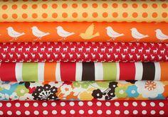 Oh Deer Japanese fabric quilt bundle by Momo for Moda - Red Fat Quarter Bundle- 6 total. $18.00, via Etsy.