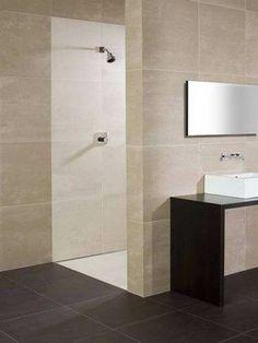 large tiles, dark / light combo, dark wood.