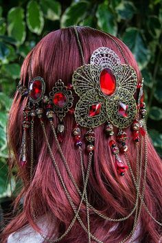 Beautiful handmade Ruby red Blood Orchid Goddess Circlet via Etsy Fashion Accessories, Hair Accessories, Circlet, Fantasy Costumes, Hair Ornaments, Ornaments Ideas, Fantasy Jewelry, Headgear, Ruby Red