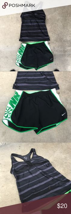 Women's Nike dri fit sport blouse shorts Women's / size small / BUNDLE / sport bra blouse / running shorts / used / great together / no peeling /no rips / no fading  / great for a day run Nike Tops Blouses