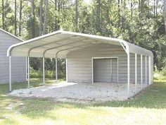 Printing Ideas DIY Simple Building Quotes Dream Homes Referral: 2668850062 Portable Carport, Carport With Storage, Built In Storage, Storage Sheds, Metal Garage Buildings, Metal Garages, Steel Buildings, Modern Buildings, Metal Carport Kits
