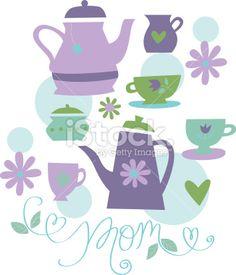 Mother's Day Tea Royalty Free Stock Vector Art Illustration
