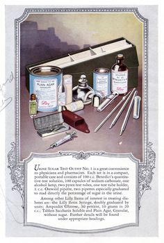 Image of an insulin injection kit and a urine sugar test kit from an Eli Lilly diabetes handbook, 1925.