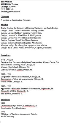 resumes for excavators resume samples construction resumes