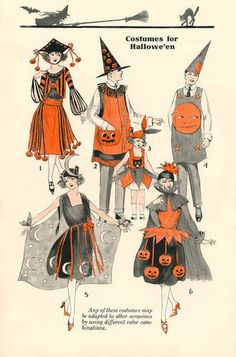 1920's Halloween Costumes. Gotta admit, that moon lady looks pretty groovy.    (From the 1922 Bogie Book; Scan by Barb Crews)