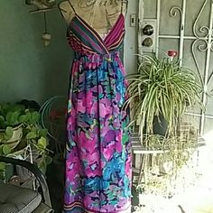 Dress NWOT Tropical Floral Summer Dress. Adjustable straps, elastic waist line. Great for summer parties or just hang -in out.  A must have. a.n.a Dresses Maxi