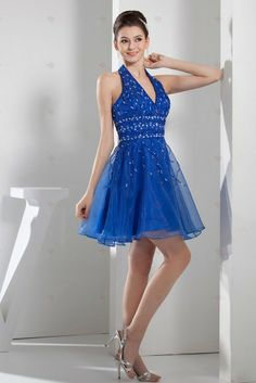 Buy organza halter top blue cocktail dress for celebrity with beading from inexpensive cocktail dresses collection, halter top neckline short in blue color,cheap mini length dress with zipper back and for prom cocktail party homecoming . Sweet 16 Dresses, Pretty Dresses, Blue Dresses, Prom Dresses, Formal Dresses, Dress P, Party Dress, Unique Bridesmaid Dresses, Bridesmaids