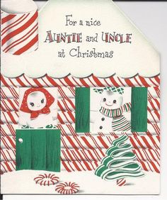 Vintage Greeting Card Christmas Card Snowmen Auntie Uncle - Norcross Card | eBay