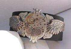 Black Leather Unisex Motorcycle Winged Steampunk Wristband $85