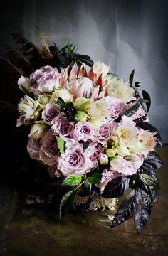 Unusual-Dark-Black-Lavender-Protea-Blushing-Bride-Berry-Centerpiece-Floral-Arrangement-Oleander-New Jersey-Bucks-County-Wedding-Event-Florist