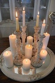 candles on top of mirror for table centerpiece