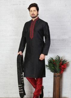 Black Art Silk Kurta Pajama Sku 518044 Traditional Indian Mens Clothing d64c58501