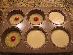 mini pineapple upsidedown cakes.  Cake Ingredients:    2 eggs  2/3 C white sugar  4 Tbsp pineapple juice  2/3 C all purpose flour  1 tsp baking powder  1/4 tsp salt    Topping:      1/4 cup butter (1/2 stick or 4 Tbsp)  2/3 C brown sugar  1-can pineapple rings  6-maraschino cherries    Preheat oven to 350 degrees.  Spray your muffin tins with non-stick cooking spray.