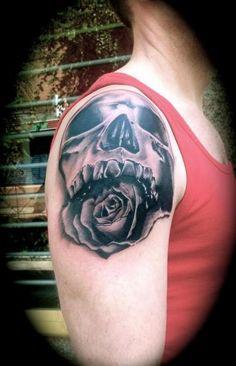 shoulder skull rose tattoo - 386×600