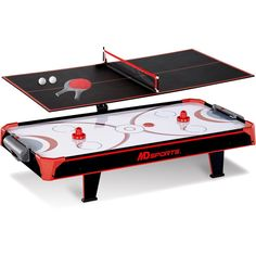 MD Sports 44 inch Air Powered Hockey Table Top with Table Tennis Top with APP Sc #MedalSports