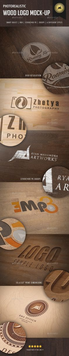 Photorealistic Wood Logo Mock-Up - Logo Product Mock-Ups