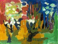 """""""Veien opp til Blåbærbakken II"""" Thore Heramb Photo Tree, Garden Trees, Brush Strokes, Gouache, Color Combos, Illustration, Christmas Cards, Abstract Art, Contemporary"""