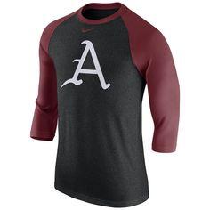 9b1accc74 Arkansas Razorbacks Nike Logo Tri-Blend 3/4-Sleeve Raglan T-Shirt -  Heathered Charcoal/Cardinal