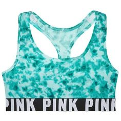 Victoria's Secret PINK Logo Racerback Bra Teal Tie Dye ($30) ❤ liked on Polyvore featuring bras, tops, sports bras, underwear, shirts and victoria's secret