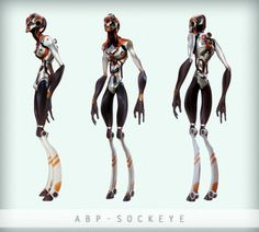 slim, feminine StarWars-like cyborgs/androids: 3D characters byFinnish artist Kallo