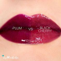 Compare Black Cherry vs. Plum LipSense Gloss using this photo.  Black Cherry is a Limited Edition LipSense color introduced by SeneGence in 2019.