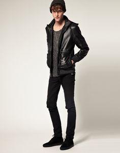 ASOS Leather Hooded Jacket. Tartan hood