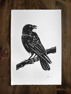 Original art linocut of raven. Hand cut, and hand printed on beautiful archival paper. 15 x 22 paper size. The image size is approximately 12 x 18.