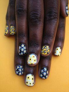 Pretty Painted Fingers & Toes Nail Polish| Serafini Amelia| floral nails