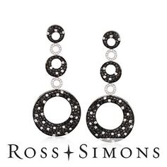 4.60 ct. t.w. Black and White Diamond Earrings In 18kt White Gold