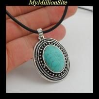 "18"" Beautiful Vintage Style Antique Silver Oval Shaped Turquoise Stone Necklace FREE SHIPPING"