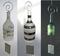 Wine bottle wind chimes! Is there anything more beautiful than that?!? Besides the glass of wine lifting to my lips... ;)