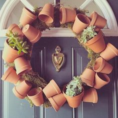 fun spring wreath using flower pots