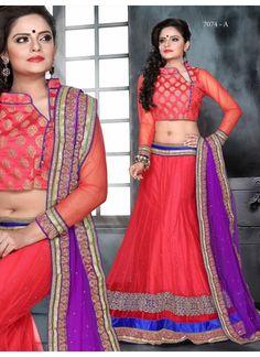 Charming Look Of Peach Party Wear Lehenga Choli #Designercholi