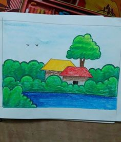 Easy scenery painting for kids easy drawings for kids, small drawings, drawing for kids Landscape Drawing For Kids, Scenery Drawing For Kids, Drawing Lessons For Kids, Easy Drawings For Kids, Small Drawings, Colorful Drawings, Painting For Kids, Art Lessons, Art For Kids