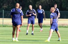Sunderland players go through their paces during a Sunderland...